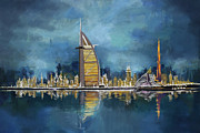 Watercolor Painting Originals - Skyline Burj-ul-Khalifa  by Corporate Art Task Force