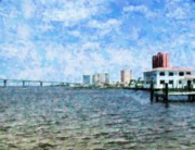 Florida Bridge Mixed Media - Skyline Ft. Myers by Florene Welebny
