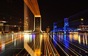 Florida Bridge Photo Originals - Skyline Night Zoom by David Cabana