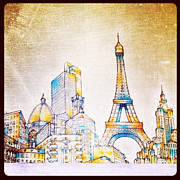 Paris Digital Art Posters - Skyline of the World Poster by Natasha Marco