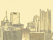 Upmc Metal Prints - Skyline sketch Metal Print by Erica Michelle