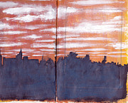 Sketchbook Mixed Media Framed Prints - Skyline Sunset Framed Print by Chad Brown