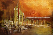 Dubai Paintings - Skyline View  by Corporate Art Task Force