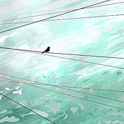 Bird On A Wire Prints - SkyLines Print by Sharon Marcella Marston