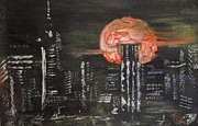 Highrise Painting Posters - Skyrise Moon Poster by PainterArtist FIN