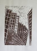 Lino Cut Print Framed Prints - Skyscrapers - Block Print Framed Print by Christiane Schulze