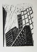 Lino Mixed Media Posters - Skyscrapers II - Block Print Poster by Christiane Schulze