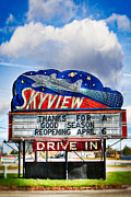 Neon Effects Framed Prints - Skyview Drive-In Theater Framed Print by Robert  FERD Frank
