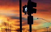 Crosswalk Photos - Skywalker in the Sunrise by Judy Via-Wolff