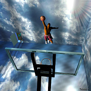 Hoops Digital Art - Slam Dunk by Walter Neal
