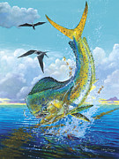 Mahi Mahi Painting Metal Prints - Slammer Metal Print by Carey Chen