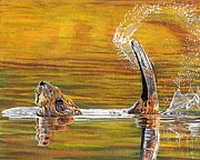 Beaver Painting Prints - Slap It Print by Sandra Wilson