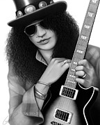 Graphite Drawings Drawings Posters - Slash Poster by Charles Champin