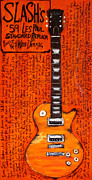 Slash Painting Posters - Slash Les Paul Replica Poster by Karl Haglund