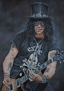Slash Painting Posters - Slash Live Poster by David Dunne