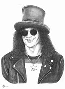 Guitar Drawings Originals - Slash by Murphy Elliott