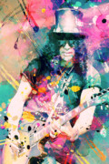 Slash Painting Posters - Slash Poster by Rosalina Atanasova