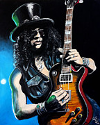Guns And Roses Prints - Slash Print by Tom Carlton