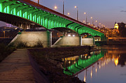 City Pier Prints - Slasko-Dabrowski Bridge at Dusk in Warsaw Print by Artur Bogacki