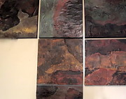 Van Dyke Brown Mixed Media - Slate Tile Grouping by Jim Ellis