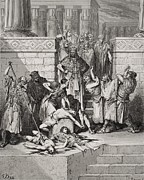 Punishment Drawings Prints - Slaughter of the Sons of Zedekiah before their Father Print by Gustave Dore
