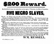Negroes Prints - SLAVE FAMILY and CHILDREN ESCAPE - REWARD POSTER - 1847 Print by Daniel Hagerman