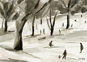 Park Scene Paintings - Sledding in the Snow Watercolor Painting of Central Park NYC by Beverly Brown Prints