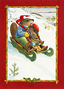 Beaver Painting Prints - Sledding Print by Lynn Bywaters