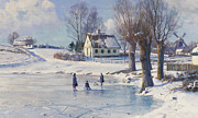 Glacial Framed Prints - Sledging on a Frozen Pond Framed Print by Peder Monsted