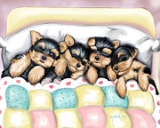 Dog Bed Mixed Media - Sleeping Babies by Catia Cho