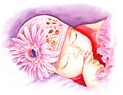 Baby Girl Prints - Sleeping Baby Print by Irina Sztukowski