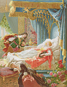 Story Drawings Prints - Sleeping Beauty and Prince Charming Print by Frederic Lix