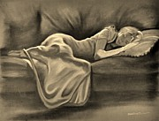 Couch Pastels Framed Prints - Sleeping Beauty In Sepia Framed Print by Wade Starr