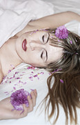 Hand In Hair Posters - Sleeping Beauty Poster by Svetlana Sewell