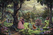 Charming Metal Prints - Sleeping Beauty Metal Print by Thomas Kinkade