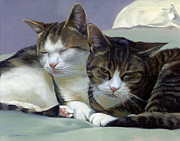 Tabby Art - Sleeping Buddies by Alecia Underhill