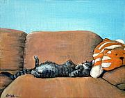 Cute Cat Drawings Prints - Sleeping Cat Print by Anastasiya Malakhova