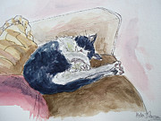 White House Mixed Media - Sleeping Cat by Helen J Pearson