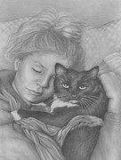 Pamela Humbargar - Sleeping girl with Cat