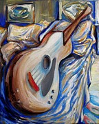 Acoustic Guitar Painting Originals - Sleeping Guitar by Frederick Luff  GALLERY