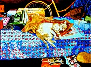 Bed Quilts Paintings - Sleeping Moggie by Susan Robinson
