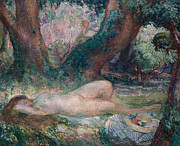 Nudes Framed Prints - Sleeping Nymph Framed Print by Henri Lebasque