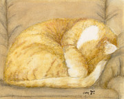Feline Paintings - Sleeping Orange Tabby Cat Feline Animal Art Pets by Cathy Peek