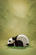 Cute Cartoon Digital Art Framed Prints - Sleeping Panda Framed Print by Vi Ha