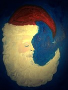 Cap Painting Originals - Sleeping Santa by Marian Hebert