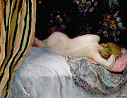 Nude Framed Prints - Sleeping Woman Framed Print by Henri Lebasque