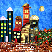 Cityscape Tapestries - Textiles - Sleepy City by Maureen Wartski