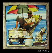Shoreline Old Men Prints - Sleepy Fisherman Print by Nandy King