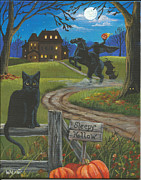 Haunted House Painting Framed Prints - Sleepy Hollow-Katrinas Cat Framed Print by Misty Walkup