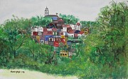 New England Village  Paintings - Sleepy Little Village by Diane Pape
